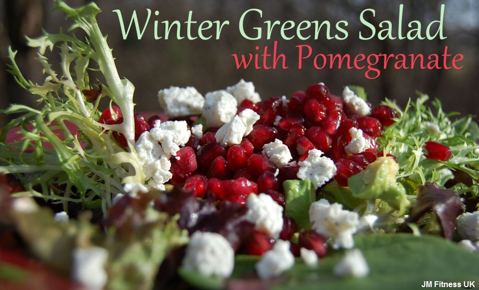 Greens salad with pomegranate